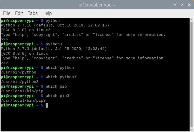 Python commands on Raspberry Pi
