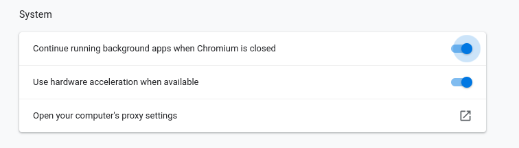 Chromium background processes setting