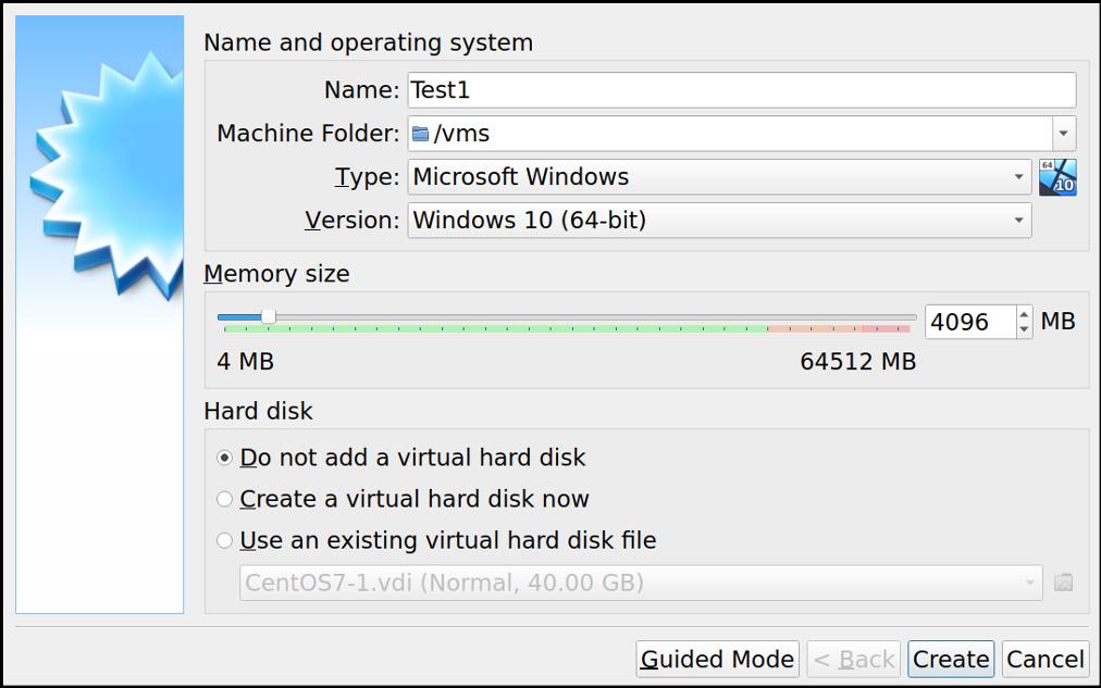 VirtualBox 对话框:创建新的虚拟机,但不添加硬盘