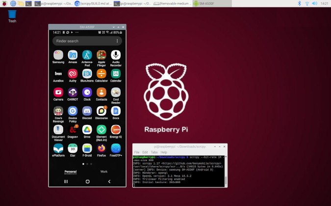 Scrcpy running on a Raspberry Pi