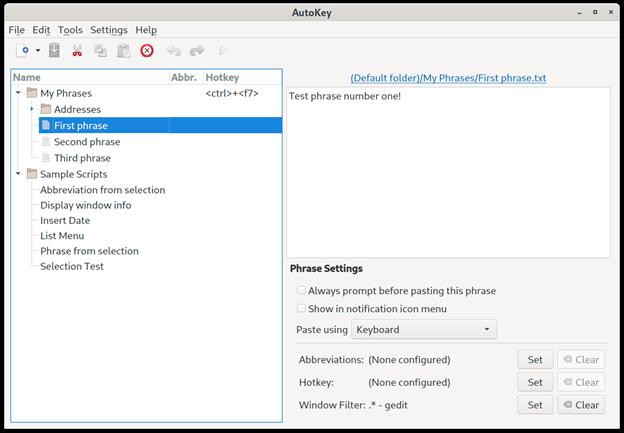AutoKey 用户界面
