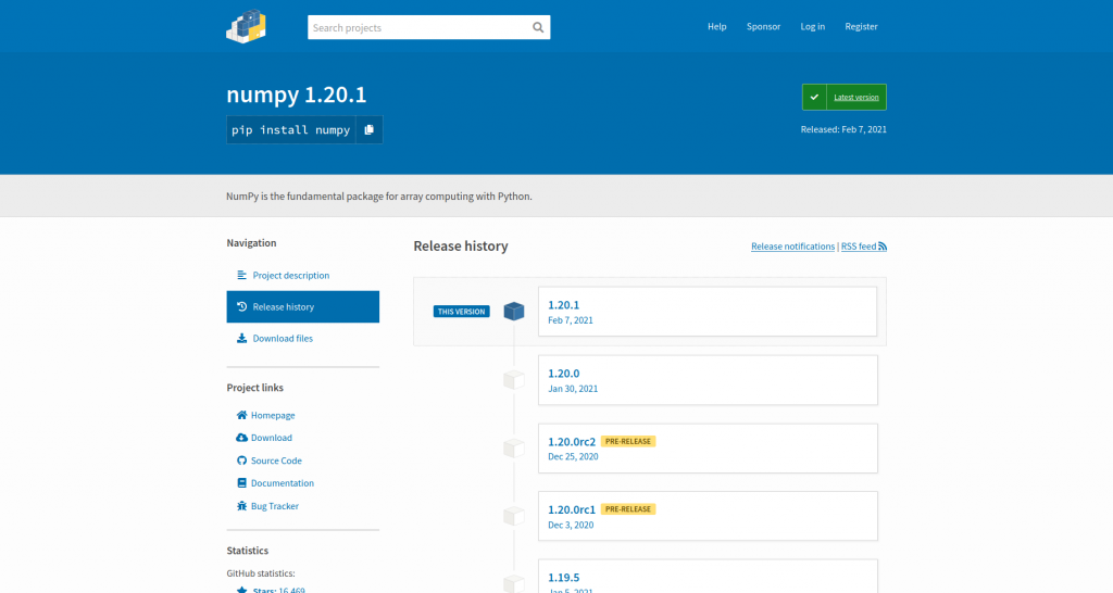 NumPy project page