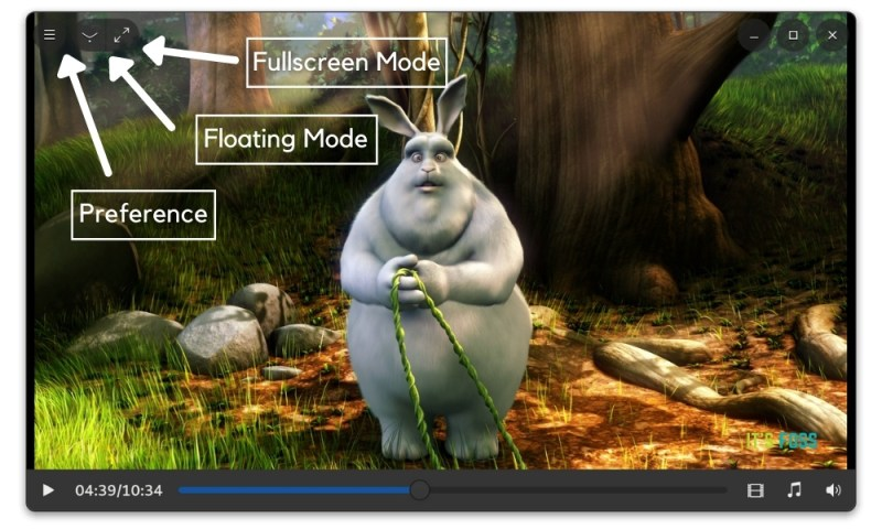 Interface of Clapper video player with preference control and window modes