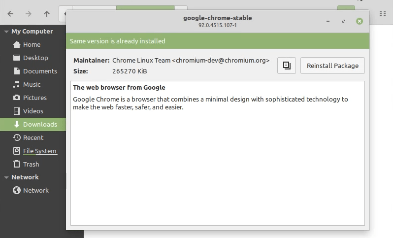 Chrome successfully installed on Linux Mint