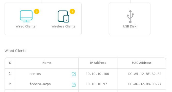 Router IP address settings