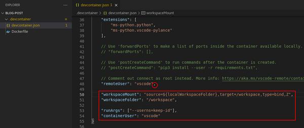 更新后的 devcontainer.json 文件