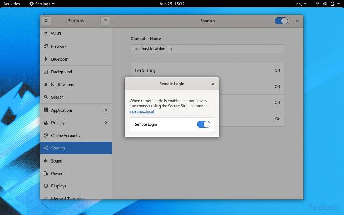 在 GNOME 系统设置中激活 SSH