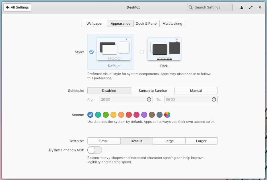 elementary OS 6 Odin 桌面设置界面