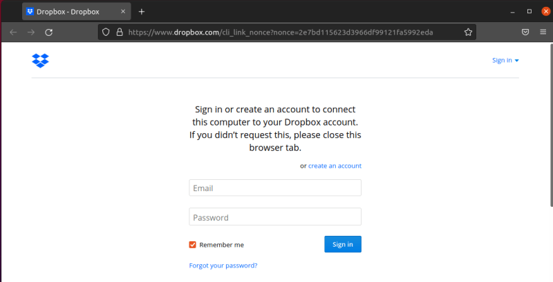 Sign in into Dropbox