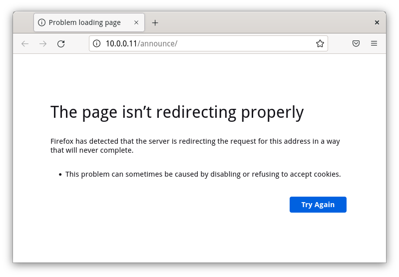 Redirect loop example in Firefox